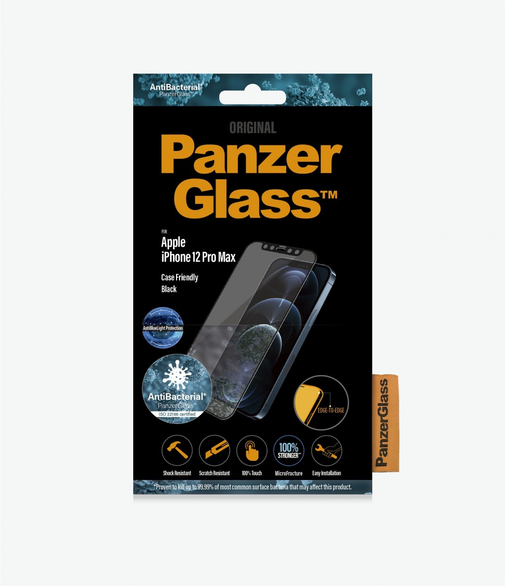 PanzerGlass Apple, iPhone 12 Pro Max, Antibacterial glass, Black, Case Friendly