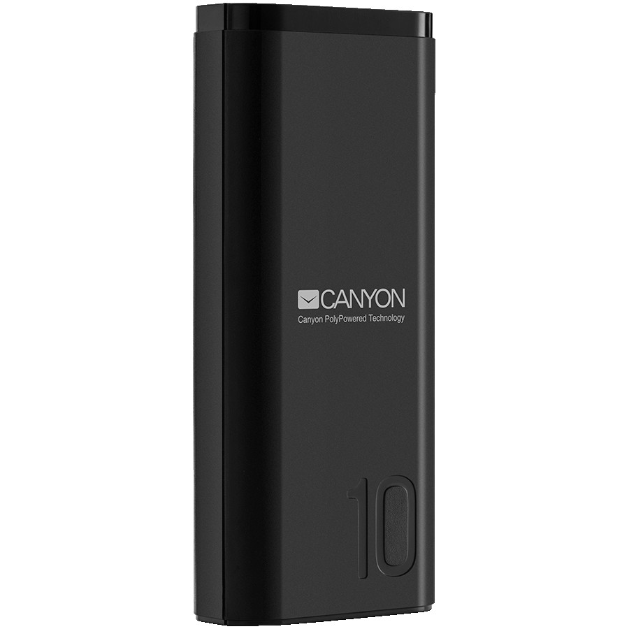 CANYON PB-103 Power bank 10000mAh Li-poly battery, Input 5V/2A, Output 5V/2.1A, with Smart IC, Black, USB cable length 0.25m, 120*52*22mm, 0.210Kg