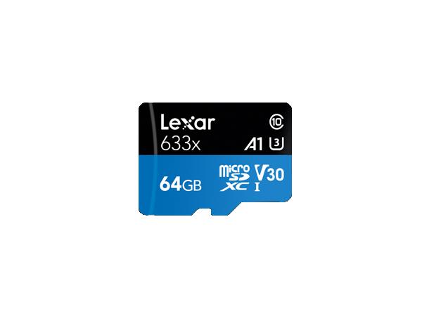 Lexar High-Performance 633x UHS-I micro SDXC, 64 GB, Class 10, U3, V30, A1, 45 MB/s, 100 MB/s