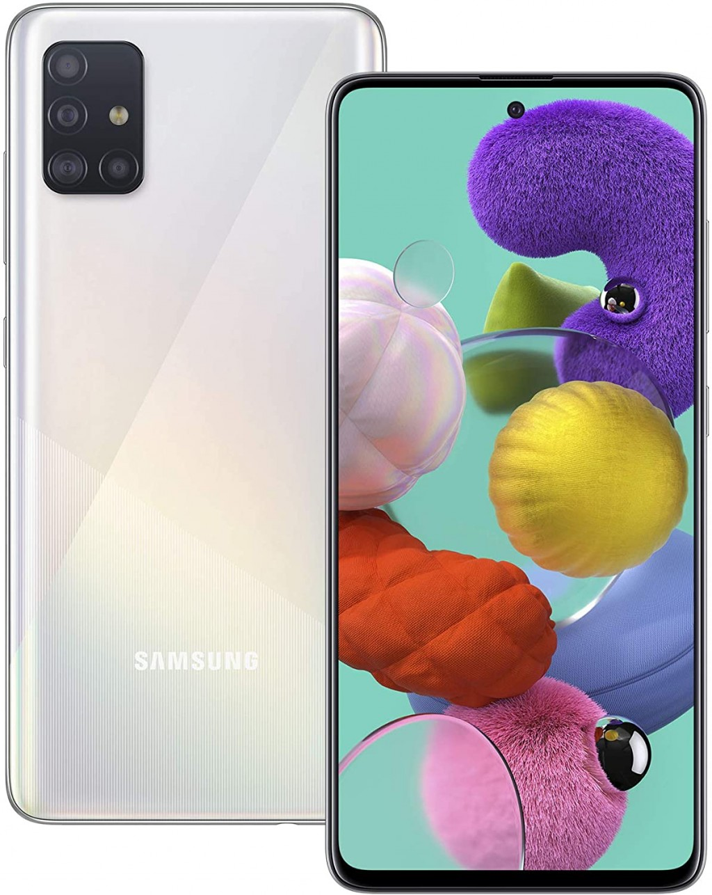 "Samsung Galaxy A51 Silver, 6.5 "", Super AMOLED, 1080 x 2400, Exynos, 9611, Internal RAM 4 GB, 128 GB, microSD, Dual SIM, Nano-SIM, 3G, 4G, Main camera 48+12+5+5 MP, Secondary camera 32 MP, Android, 10.0, 4000 mAh"
