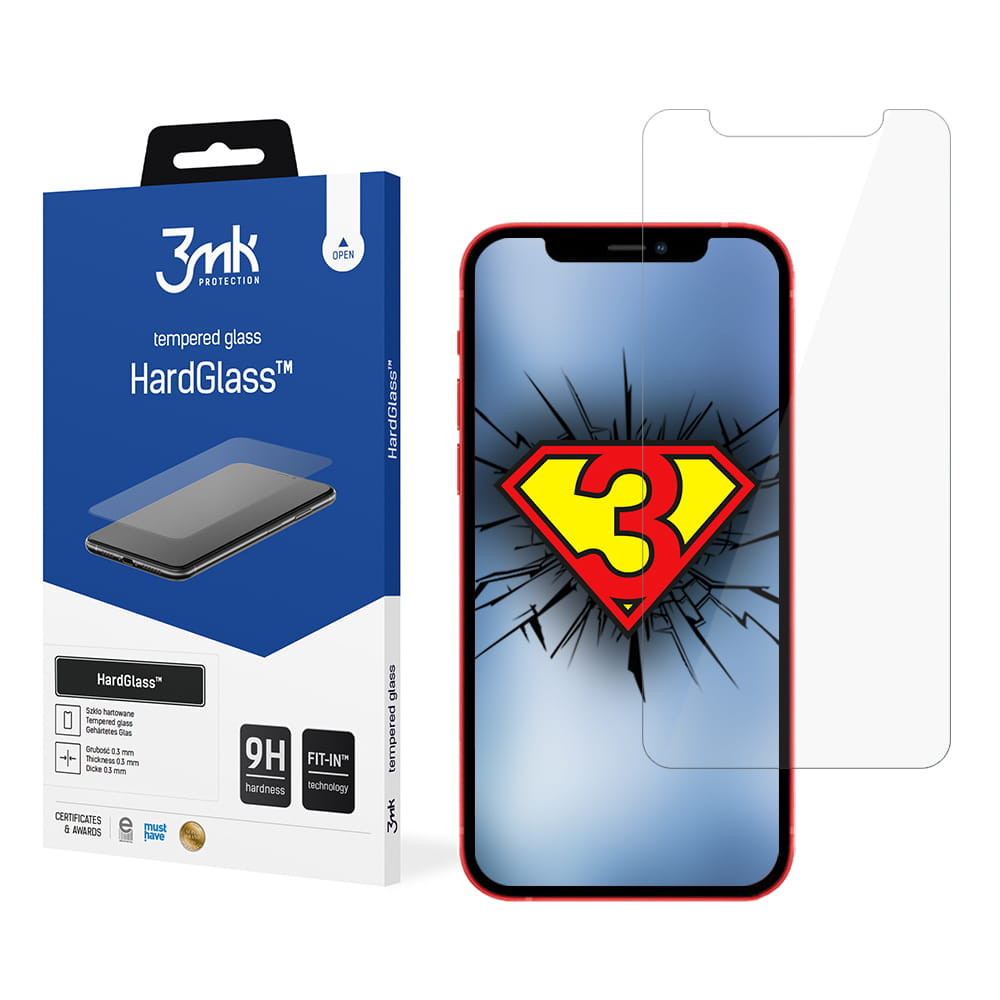 3MK HardGlass For iPhone 12 Mini, Tempered glass, Transparent, Clear Screen Protector