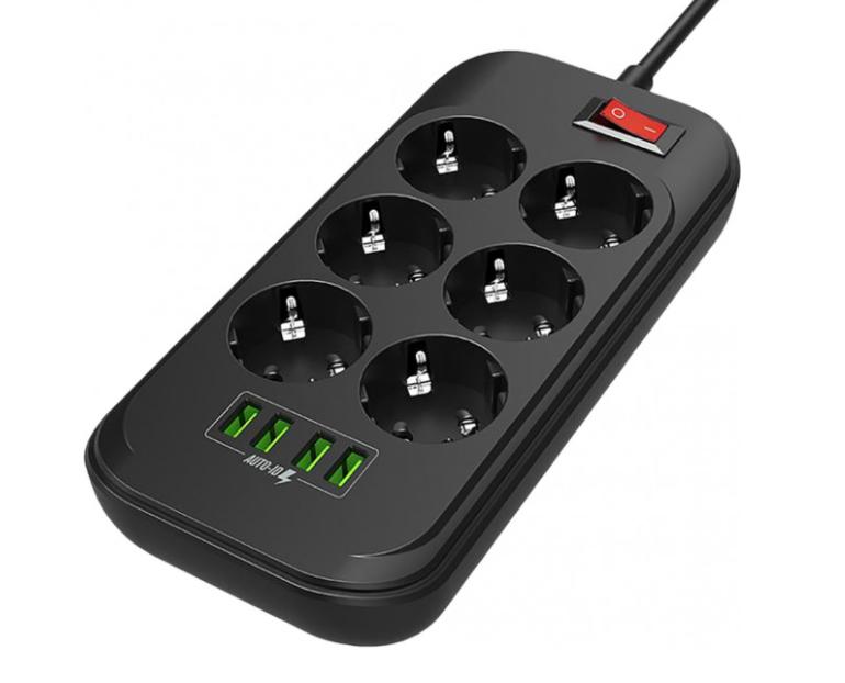 ColorWay Power Socket CW-CHE64B Black, 4xUSB, 2 m, 250 V, 6 euro sockets, 17 W
