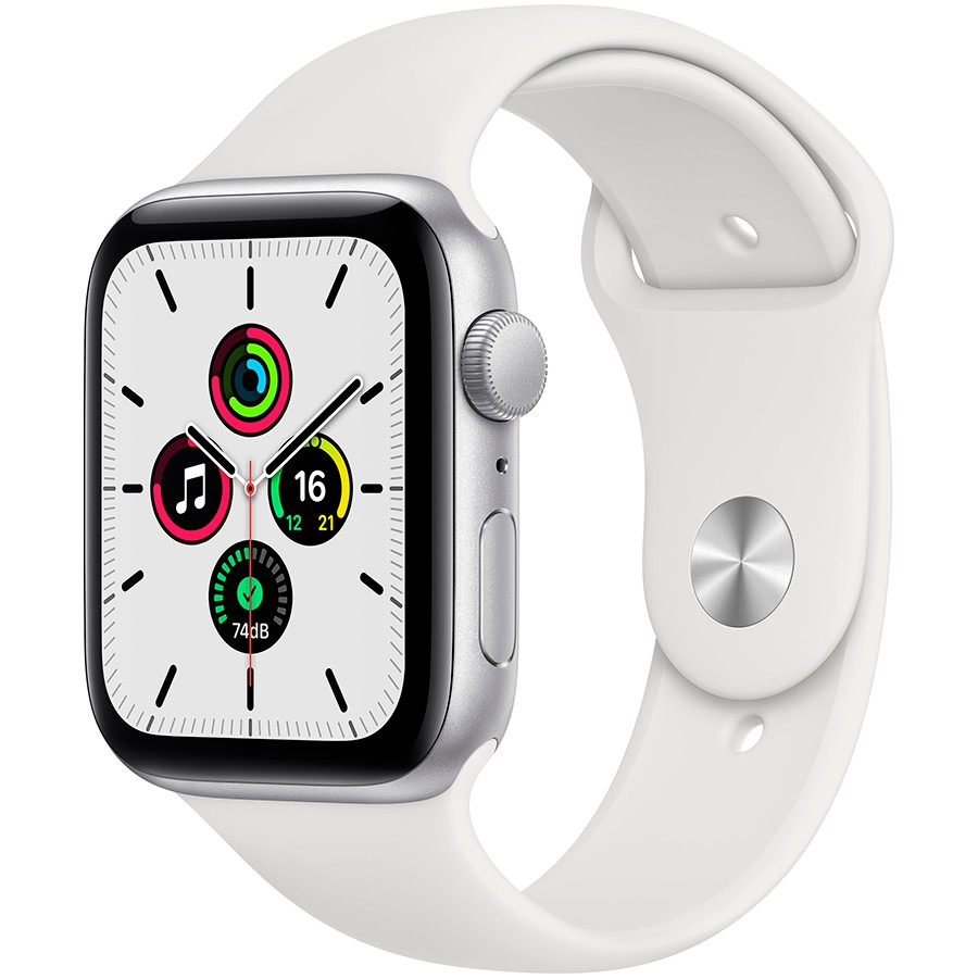 Apple Watch SE GPS, 44mm Silver Aluminium Case with White Sport Band - Regular, Model A2352