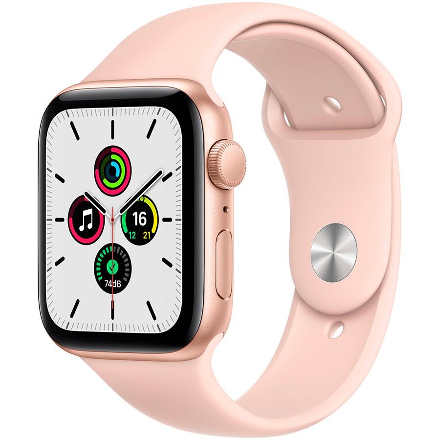 Apple Watch SE GPS, 44mm Gold Aluminium Case with Pink Sand Sport Band - Regular, Model A2352