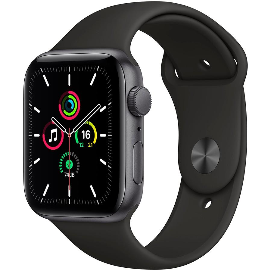 Apple Watch SE GPS, 44mm Space Gray Aluminium Case with Black Sport Band - Regular, Model A2352