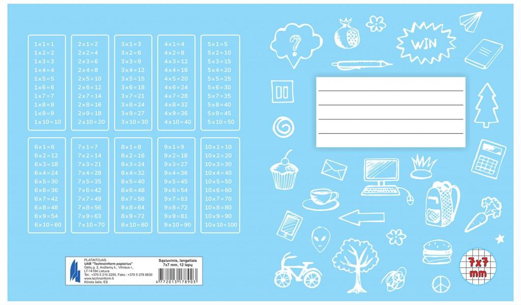 Vihik 1-2.klass A5, 12 lehte, ruuduline(leedu joonestus)