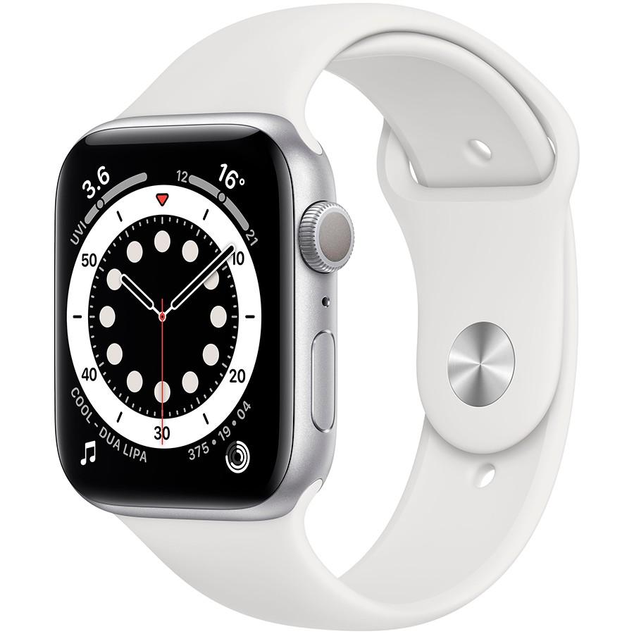 Apple Watch Nike Series 6 GPS, 44mm Silver Aluminium Case with Pure Platinum/Black Nike Sport Band - Regular, Model A2292