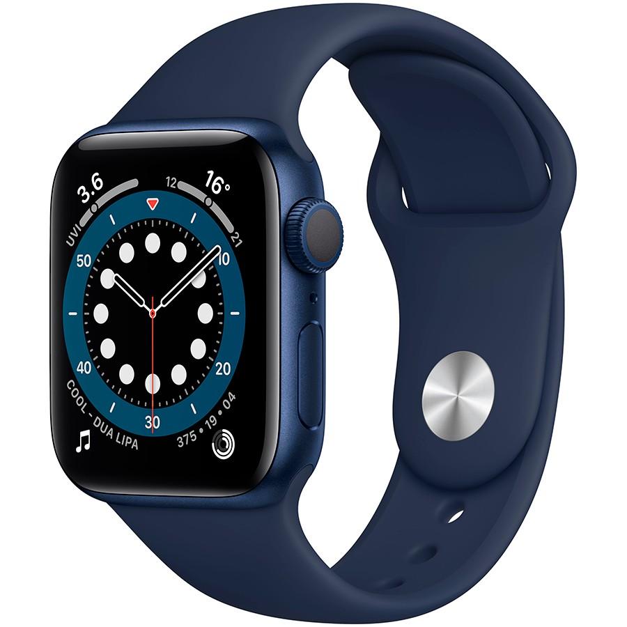 Apple Watch Series 6 GPS, 40mm Blue Aluminium Case with Deep Navy Sport Band - Regular, Model A2291