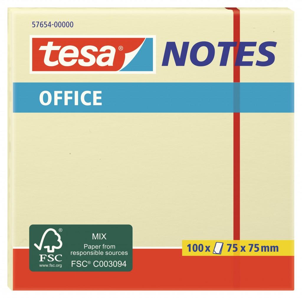 Märkmepaber Tesa, 75 x 75mm, kollane, 100 lehte