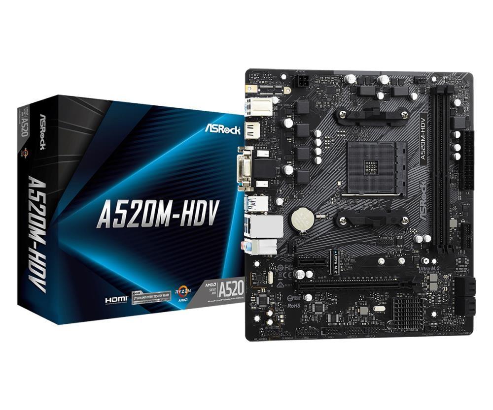 Mainboard|ASROCK|AMD A520|SAM4|MicroATX|1xPCI-Express 3.0 1x|1xPCI-Express 3.0 16x|1xM.2|Memory DDR4|Memory slots 2|1x15pin D-sub|1xDVI|1xHDMI|2xAudio-In|1xAudio-Out|2xUSB 2.0|4xUSB 3.2|1xPS/2|1xRJ45|A520M-HDV