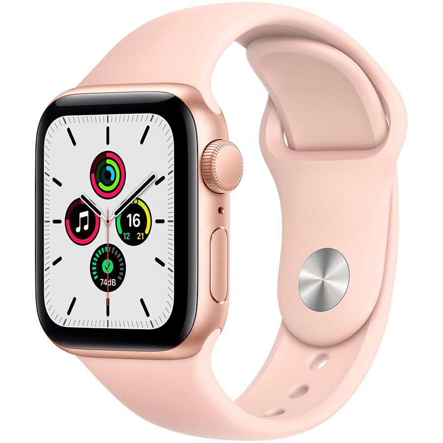 Apple Watch SE GPS, 40mm Gold Aluminium Case with Pink Sand Sport Band - Regular, Model A2351