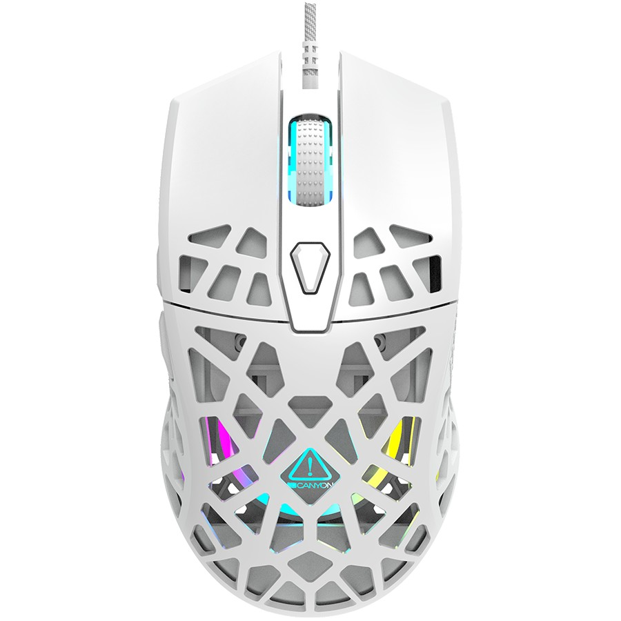 Puncher GM-20 High-end Gaming Mouse with 7 programmable buttons, Pixart 3360 optical sensor, 6 levels of DPI and up to 12000, 10 million times key life, 1.65m Ultraweave cable, Low friction with PTFE feet and colorful RGB lights, white, size:126x67.5