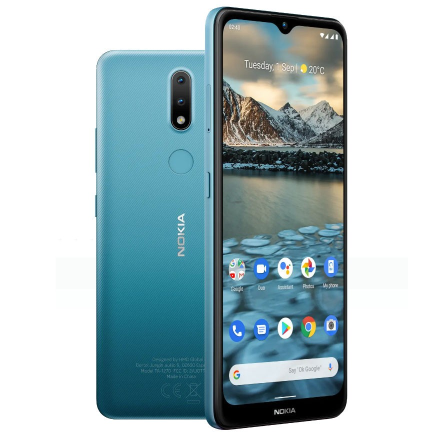 "Nokia 2.4 TA-1270 6.5 "", Fjord Blue, IPS LCD, 720 x 1600 pixels, Mediatek MT6762 Helio P22, Dual SIM, Nano-SIM, 5.0, Internal RAM 2 GB, 32 GB, MicroSDXC, 3G, 4G, Main camera 13+2 MP, Secondary camera 5 MP, Android, 10.0, 4500 mAh"