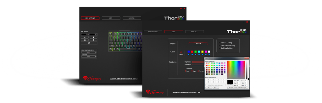 GENESIS THOR 210 RGB Gaming Keyboard, US Layout, Wired, Black, RGB backlight