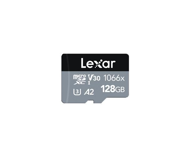 Lexar Professional 1066x UHS-I MicroSDXC, 128 GB, Flash memory class 10, Black/Gray, 120 MB/s, 160 MB/s