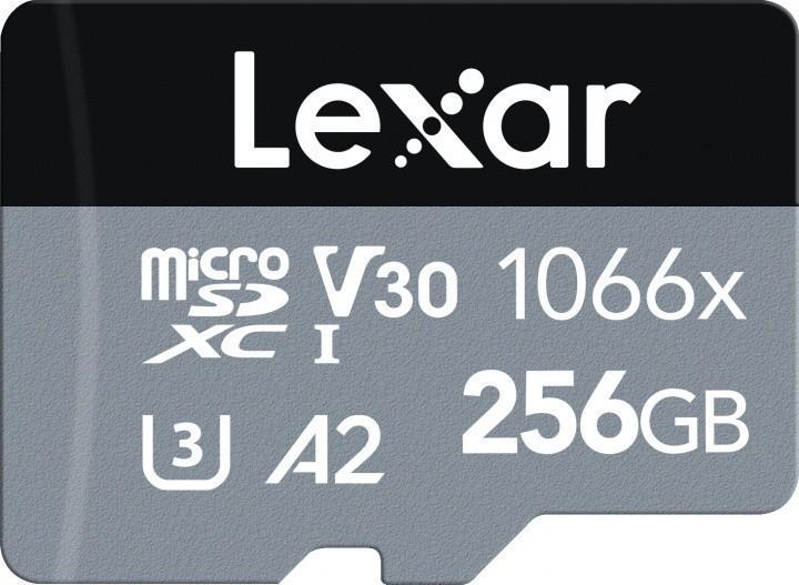 Lexar High-Performance 1066x UHS-I  MicroSDXC, 256 GB, Flash memory class 10, Black/Grey, Class: A2 V30 U3, 70 MB/s, 160 MB/s