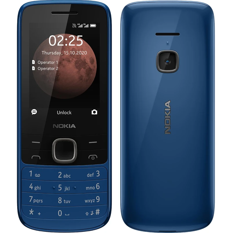"Nokia 225 4G TA-1316 Blue, 2.4 "", TFT, 240 x 320 pixels, 64 MB, 128 MB, Dual SIM, Nano-SIM, 3G, Bluetooth, 5.0, USB version MicroUSB, Built-in camera, Main camera 0.3 MP, 1150 mAh"