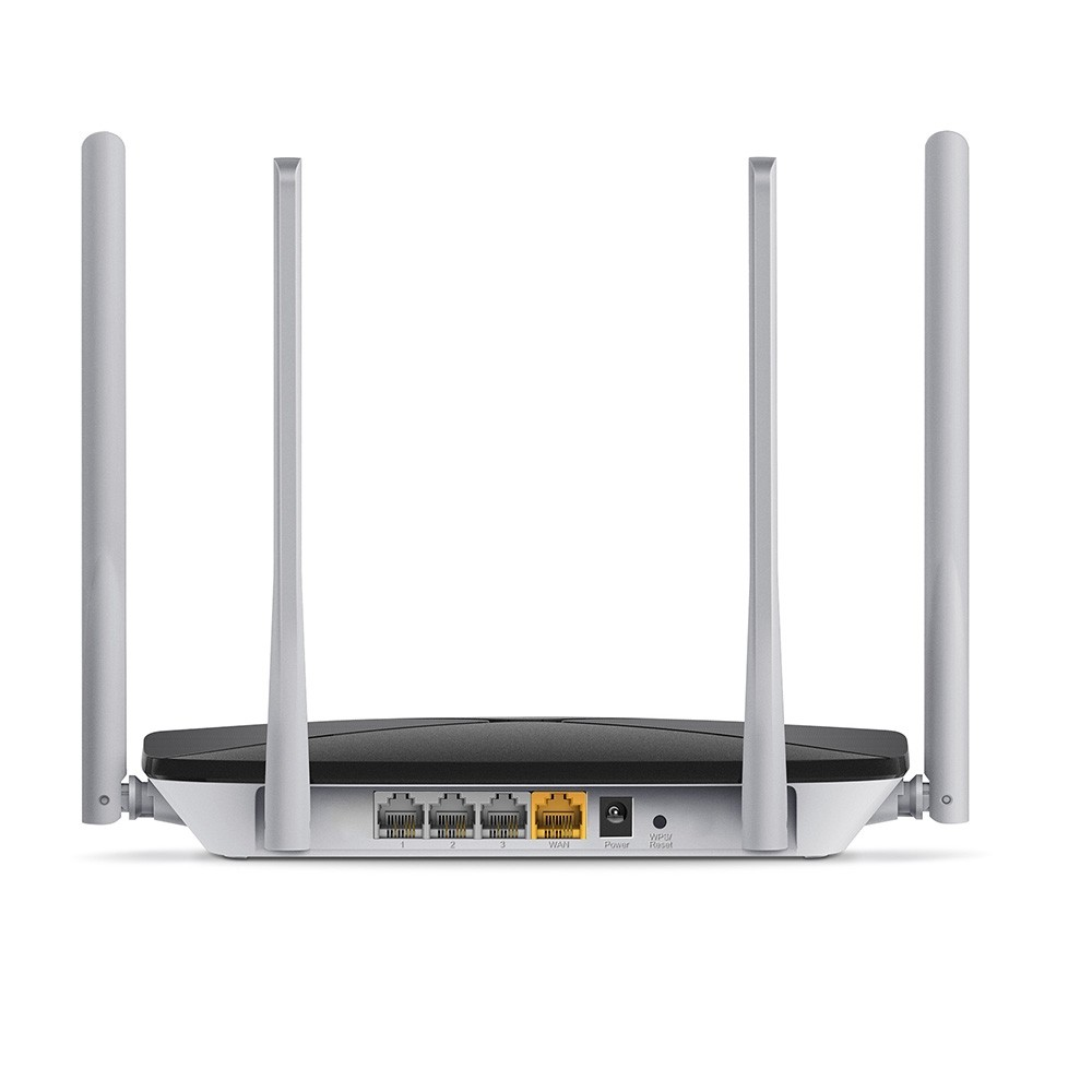Mercusys AC1200 Dual Band Wireless Router AC12 802.11ac, 300+867 Mbit/s, 10/100 Mbit/s, Ethernet LAN (RJ-45) ports 3, Antenna type 4xFixed, Black