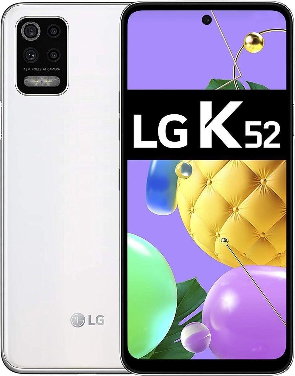 "LG K52 White, 6.6 "", IPS LCD, 720 x 1600 pixels, Mediatek MT6765 Helio P35, Internal RAM 4 GB, 64 GB, MicroSDXC, Dual SIM, Nano-SIM, 3G, 4G, Main camera 48+5+2+2  MP, Secondary camera 13 MP, Android, 10.0, 4000  mAh"