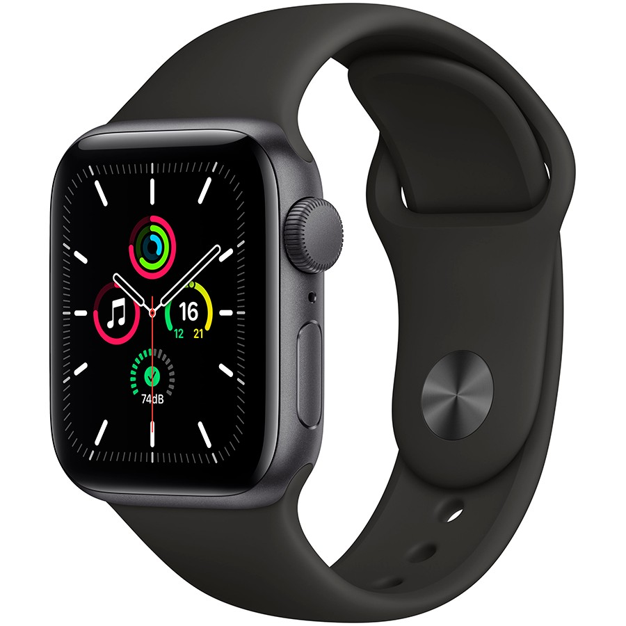 Apple Watch SE GPS, 40mm Space Gray Aluminium Case with Black Sport Band - Regular, Model A2351