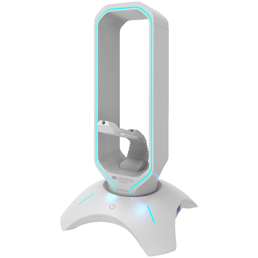 Gaming 3 in 1 Headset stand, Bungee and USB 2.0 hub, 2 USB hub, 1.5m standard USB to USB 5mm PVC cable, Weighted design with non-slip grip, Touch switch to control LED light, Pearl white, size:126*126*251mm, 383g