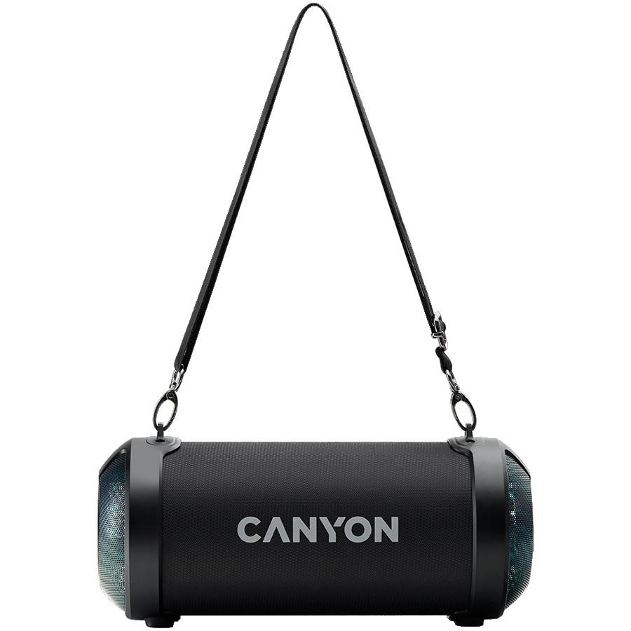 Canyon BSP-7 Bluetooth Speaker, BT V5.0, Jieli JLAC6925B, 3.5mm AUX, 1*USB-A port, micro-USB port, 1500mAh lithium ion battery, Black, cable length 0.6m, 278*117 *128mm, 0.941kg