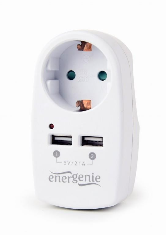 CHARGER USB WITH P/T AC SOCKET/EG-ACU2-02 GEMBIRD