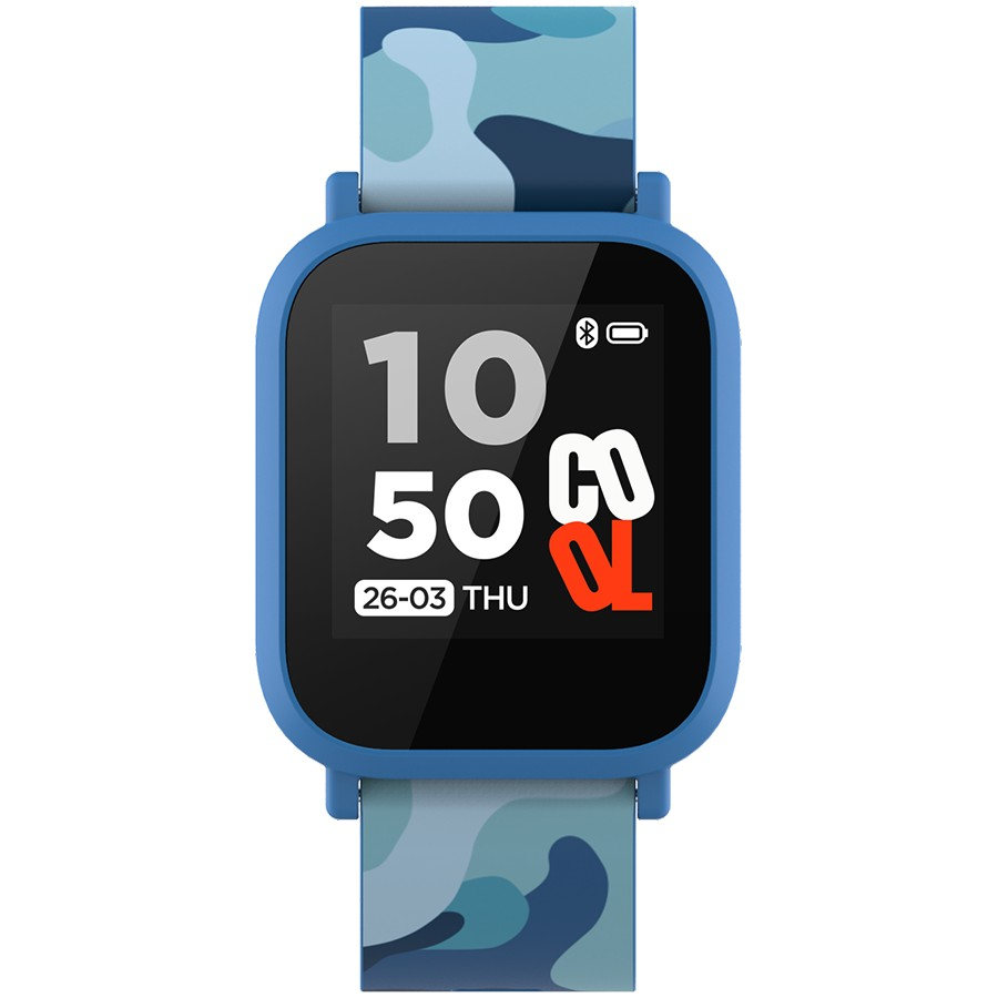 Teenager smart watch, 1.3 inches IPS full touch screen, blue plastic body, IP68 waterproof, BT5.0, multi-sport mode, built-in kids game, compatibility with iOS and android, 155mAh battery, Host: D42x W36x T9.9mm, Strap: 240x22mm, 33g