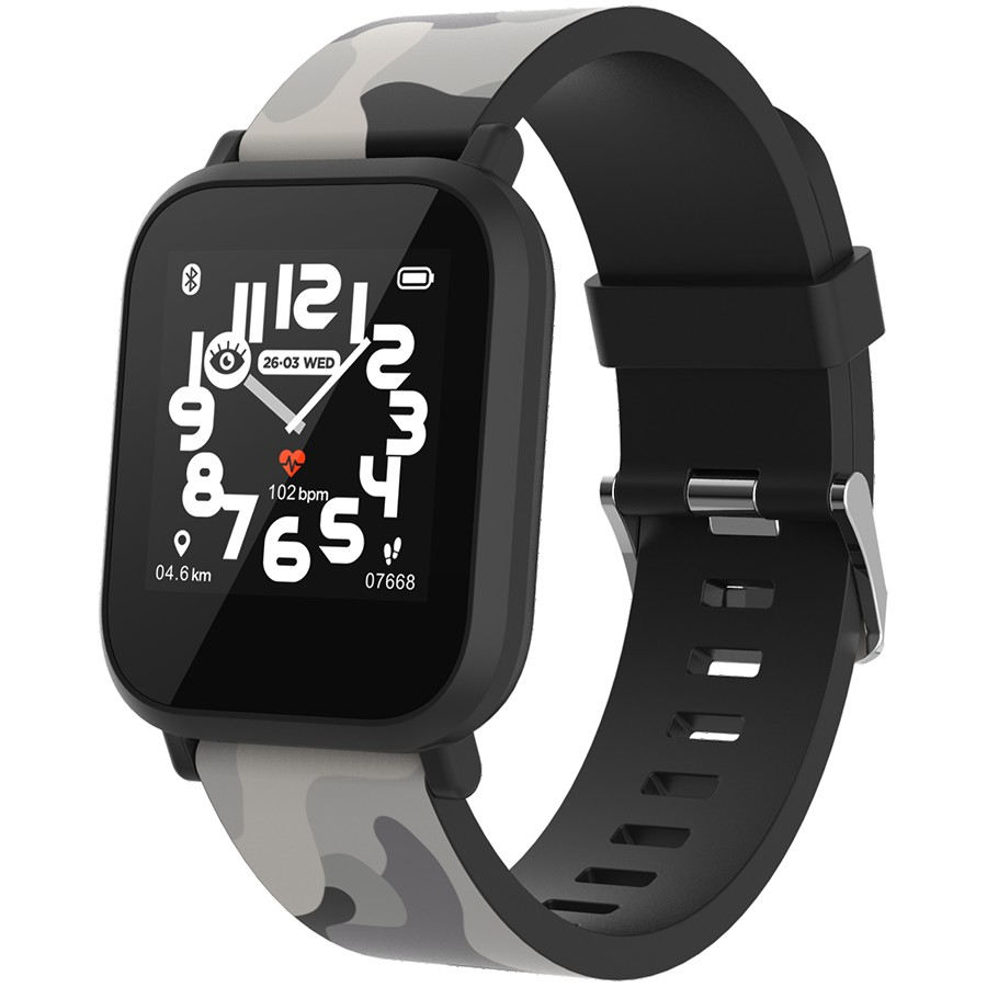 kids smart watch, 1.3 inches IPS full touch screen, black plastic body, IP68 waterproof, BT5.0, multi-sport mode, built-in kids game, compatibility with iOS and android, 155mAh battery, Host: D42x W36x T9.9mm, Strap: 240x22mm, 33g