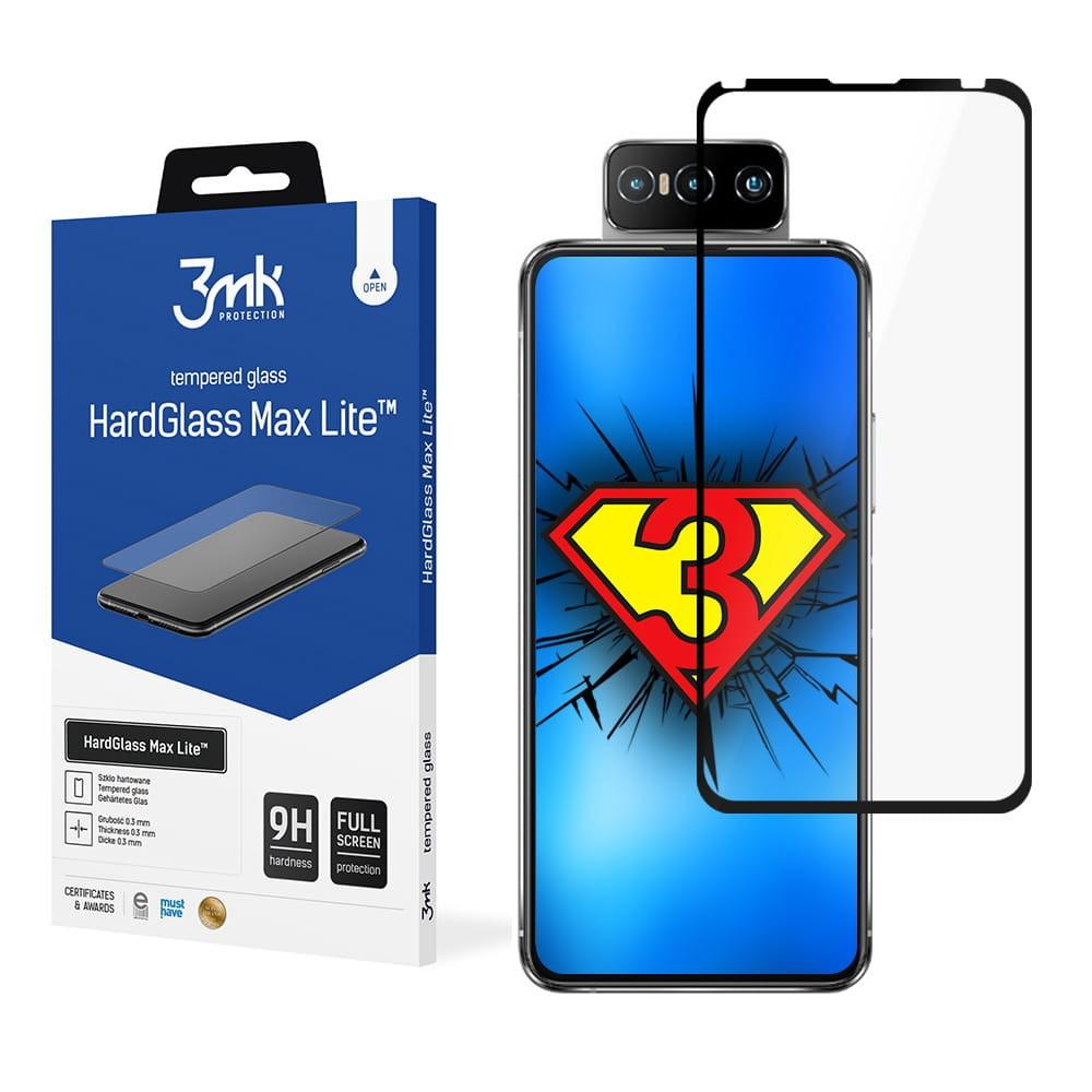 3MK HardGlass Max Lite ASUS,  ZenFone 7 Lite, Tempered glass, Black, Clear Screen Protector
