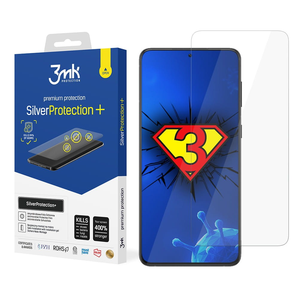 3MK SilverProtection+ Protective Film Samsung, Galaxy S21, Foil, Clear, Screen Protector, Self Heal Technology