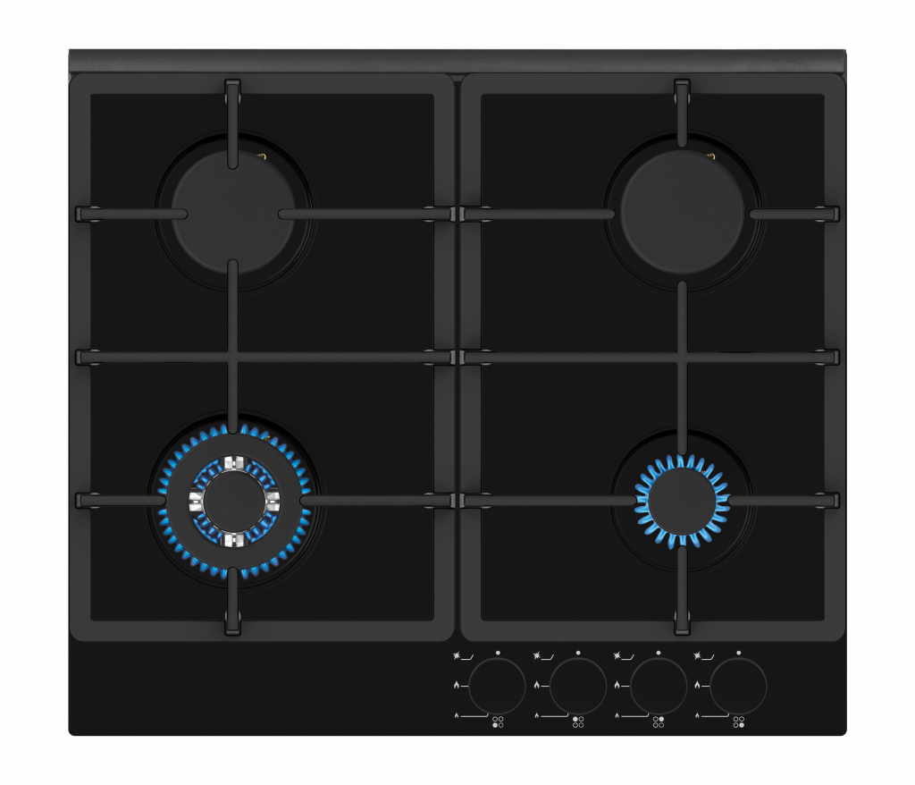 Simfer Hob H6 401 TGRSP Gas on glass, Number of burners/cooking zones 4, Mechanical, Black