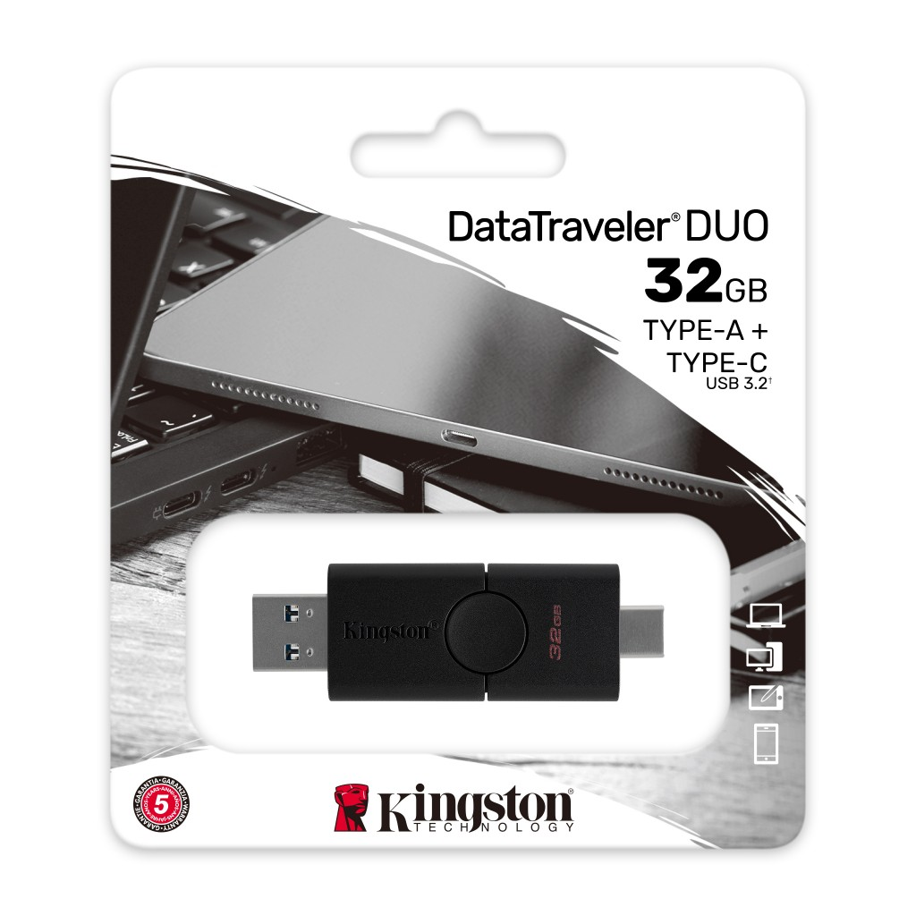 Kingston DataTraveler Duo 32 GB, USB Type-A and USB Type-C, Black