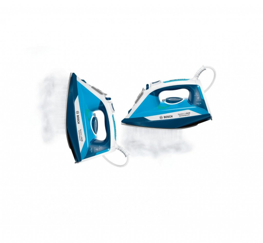 Bosch Steam Iron TDA3024210 2400 W, Water tank capacity 320 ml, Continuous steam 40 g/min, Steam boost performance 150 g/min, Blue/White