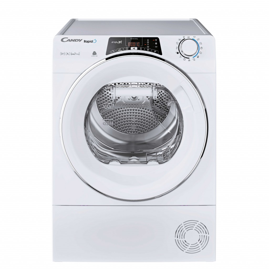 Candy Dryer Machine RO H9A2TCEX-S Energy efficiency class A++, Front loading, 9 kg, Heat pump, Big Digit, Depth 60 cm, Wi-Fi, White