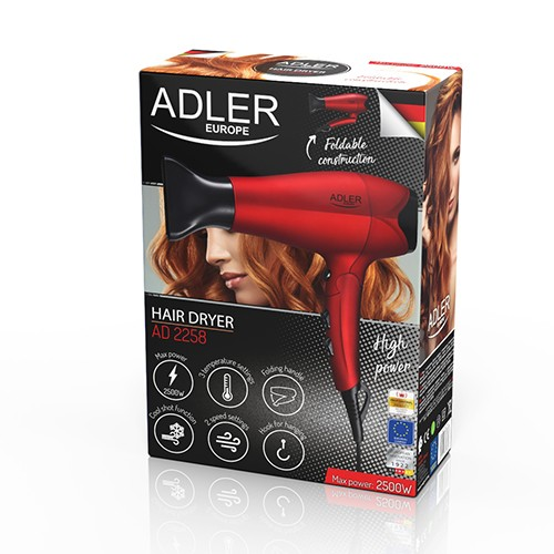 Adler Hair Dryer AD 2258 Foldable handle, 2100 W, Red