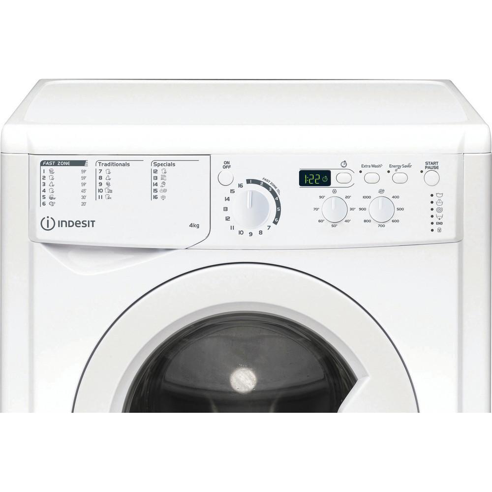 INDESIT Washing machine EWUD 41051 W EU N Energy efficiency class F, Front loading, Washing capacity 4 kg, 1000 RPM, Depth 32.3 cm, Width 59.5 cm, Display, Small digit, White