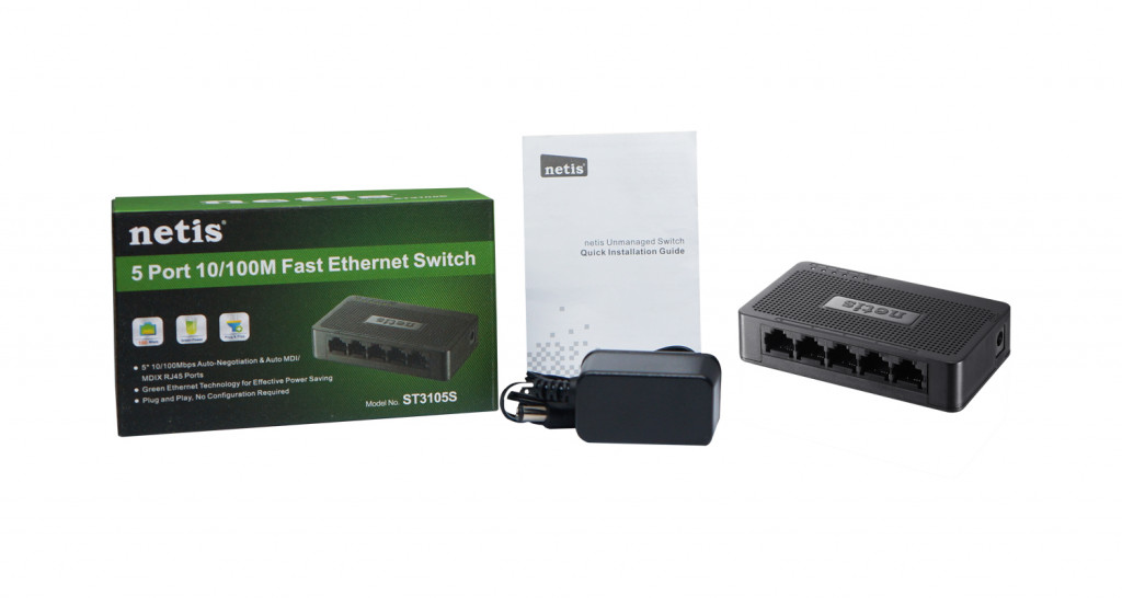 Netis 5 Port Fast Ethernet Switch ST3105S 802.3x, 10/100 Mbit/s, Ethernet LAN (RJ-45) ports 5