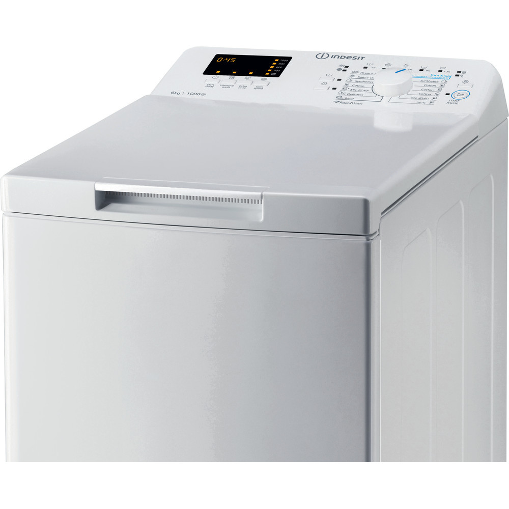 INDESIT Washing machine BTW S60300 EU/N Energy efficiency class D, Top loading, Washing capacity 6 kg, 1000 RPM, Depth 60 cm, Width 40 cm, Display, Digit, White
