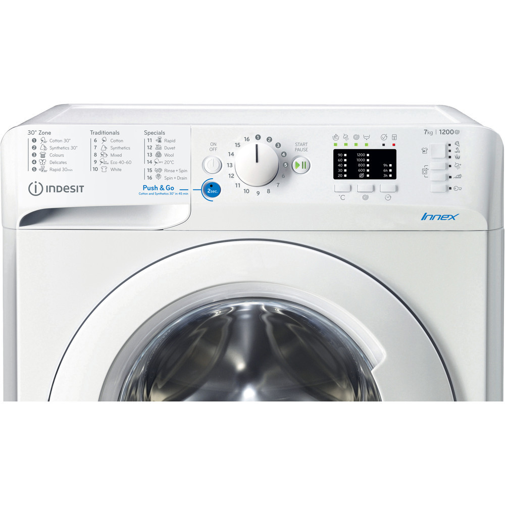 INDESIT Washing machine BWSA 71251 W EE N Energy efficiency class E, Front loading, Washing capacity 7 kg, 1200 RPM, Depth 43.5 cm, Width 59.5 cm, Display, LED Plus, White