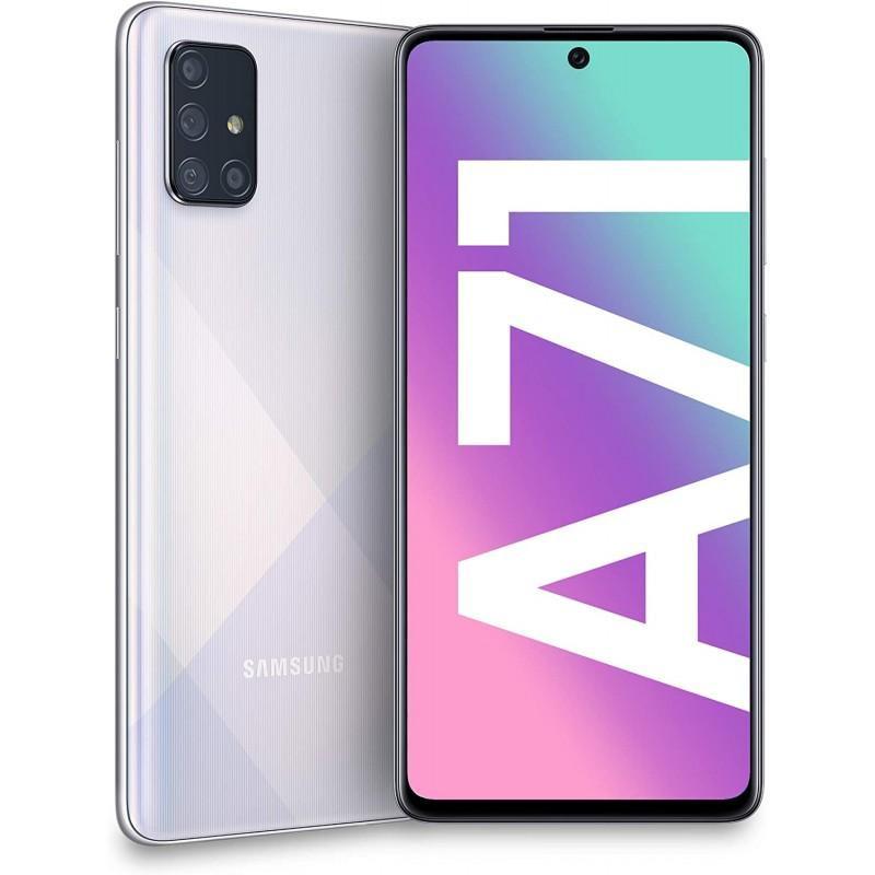 "Samsung Galaxy A71 A715 Prism Crush Silver, 6.7 "", Super AMOLED, 1080 x 2400, Qualcomm, Snapdragon 730, Internal RAM 6 GB, 128 GB, MicroSD, Dual SIM, Nano-SIM, 3G, 4G, Main camera 64+12+5+5 MP, Secondary camera 32 MP, Android, 10.0, 4500 mAh"