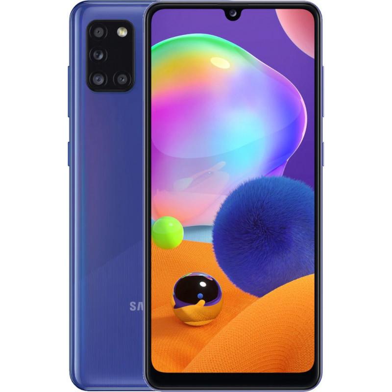 "Samsung Galaxy A31 Blue, 6.4 "", Super AMOLED, 1080 x 2400 pixels, Mediatek MT6768 Helio P65, Internal RAM 4 GB, 128 GB, microSDXC, Dual SIM, Nano-SIM, 3G, 4G, Main camera 48+5+8+5 MP, Secondary camera 20 MP, Android, 10, 5000 mAh"