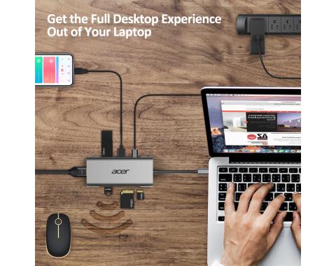 Acer Docking Station 7in1 Type C dongle  1xHDMI, 3xUSB 3.0, 1xSD/TF