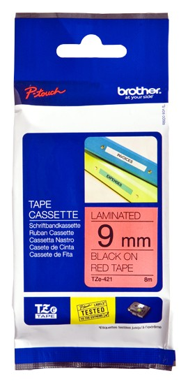 Brother TZe-421 Laminated Tape Black on Red, TZe, 8 m, 9 mm