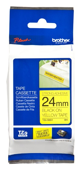 Brother TZe-S651 Strong Adhesive Laminated Tape Black on Yellow, TZe, 8 m, 2.4 cm