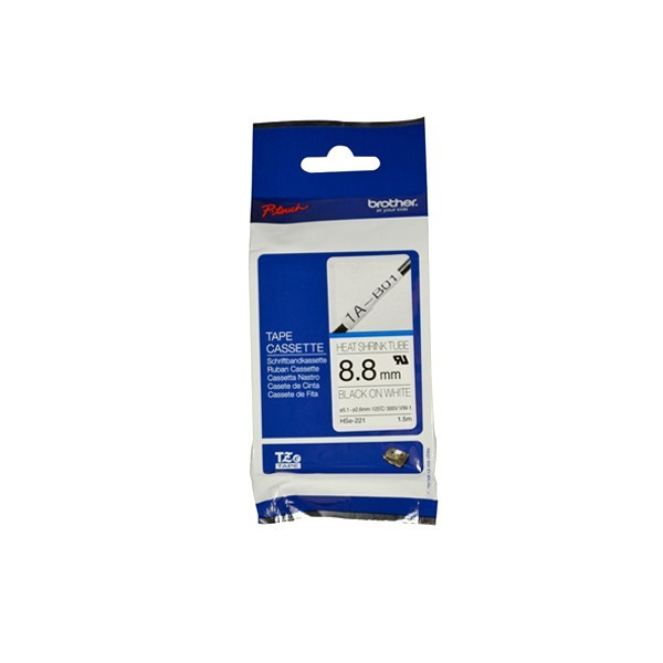 Brother HSE-221 Black on white, TZe, 1.5 m, 8.8 mm