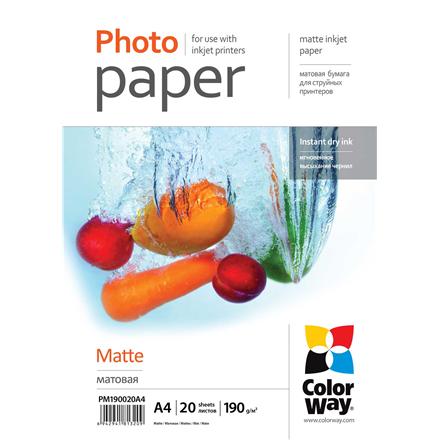 ColorWay Matte Photo Paper, 20 Sheets, A4, 190 g/m²