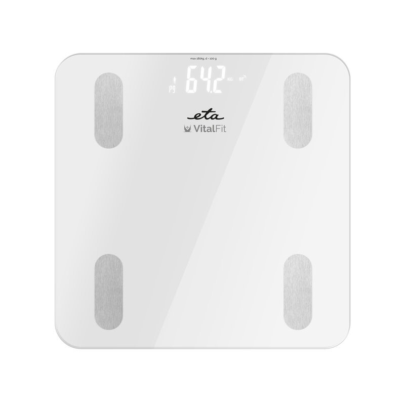 ETA Smart Personal Scale Vital Fit ETA678190000 Body analyzer, Maximum weight (capacity) 180 kg, Accuracy 100 g, Body Mass Index (BMI) measuring, White