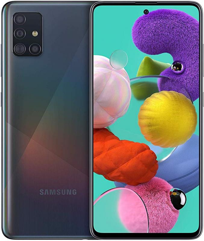 "Samsung Galaxy A51 A515 Black, 6.5 "", Super AMOLED, 1080 x 2400, Exynos 9611, Internal RAM 4 GB, 64 GB, MicroSD, Dual SIM, Nano-SIM, 3G, 4G, Main camera 48+12+5+5 MP, Secondary camera 32 MP, Android, 10, 4000 mAh"
