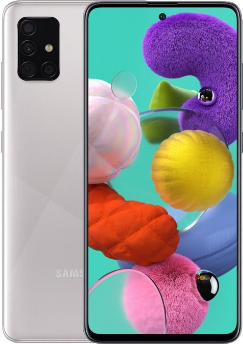 "Samsung Galaxy A51 A515 Silver, 6.5 "", Super AMOLED, 1080 x 2400, Exynos 9611, Internal RAM 4 GB, 64 GB, MicroSD, Dual SIM, Nano-SIM, 3G, 4G, Main camera 48+12+5+5 MP, Secondary camera 32 MP, Android, 10, 4000 mAh"